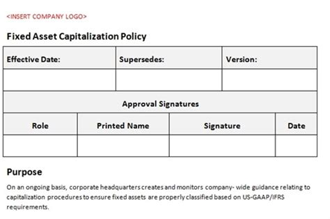 Fixed Asset Policy Template by Fixed Asset Capitalization Policy Accounting Template