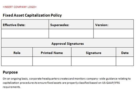 Fixedassetcapitalizationpolicyaccountingtemplate