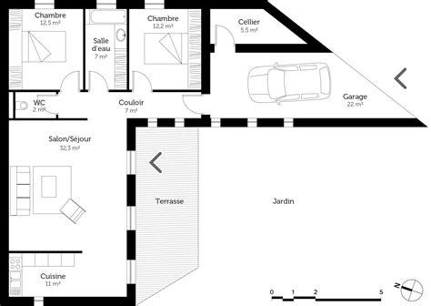 plan maison en l plain pied 3 chambres plan maison plain pied avec 2 chambres ooreka