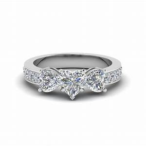 heart shaped pave 3 stone diamond engagement ring in 14k With heart diamond wedding rings