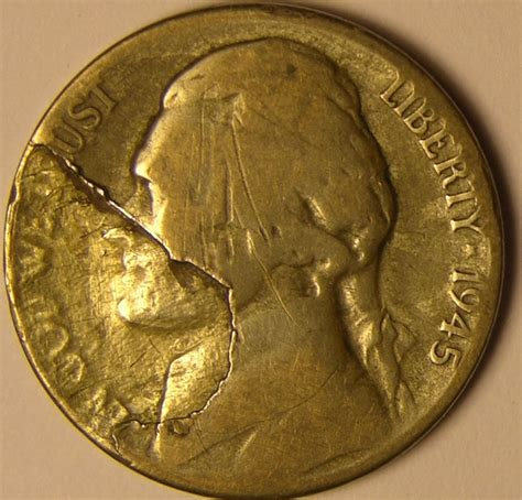 silver nickel 1945 s silver war nickel lamination mint error coin az 596 ebay