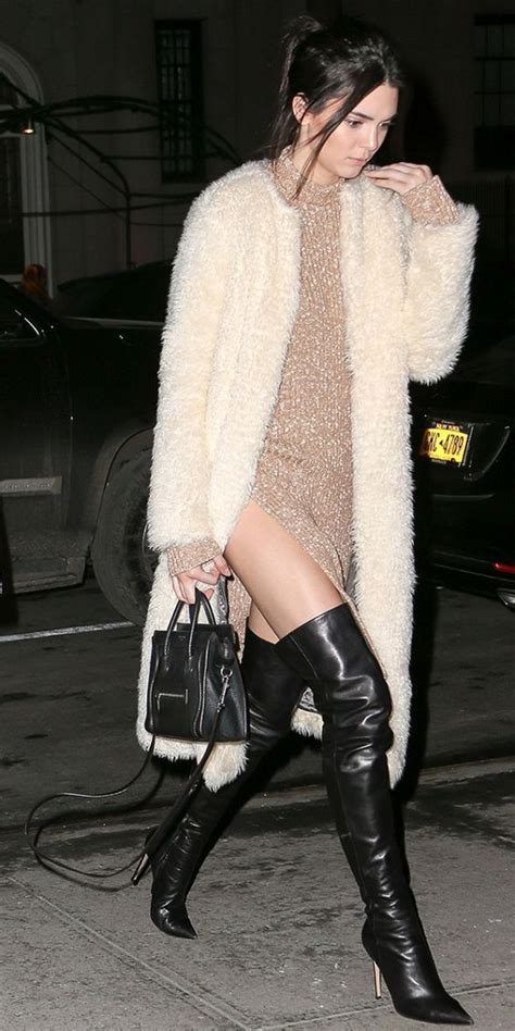 Kendall Jenner Shows Off Some Serious Leg in Leather Boots | Boots Black leather boots and Knee ...