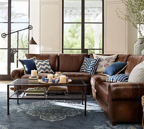 Pottery Barn Turner Roll Sofa by Turner Roll Arm Leather 3 L Shaped Sectional