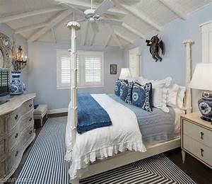 Blue Coastal Beach Bedroom Four Poster Bed Bead Board