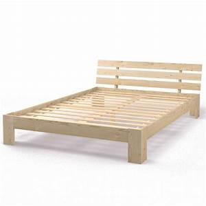 Lit Bois Massif Ikea : lit double en bois massif 140x200 cm cadre obuste avec sommier lattes nature ebay ~ Teatrodelosmanantiales.com Idées de Décoration