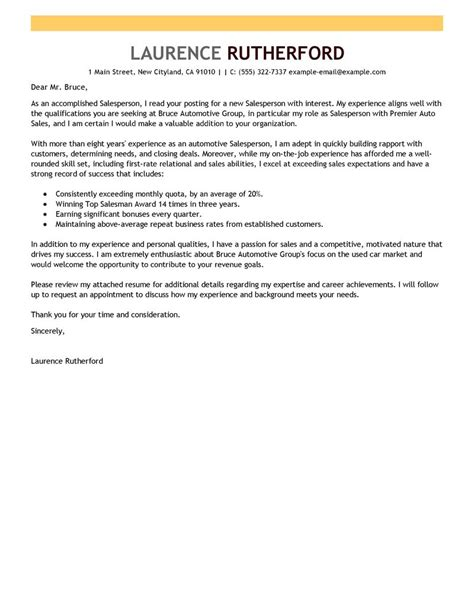 Cover Letter For Car Dealership by Leading Professional Salesperson Cover Letter Exles