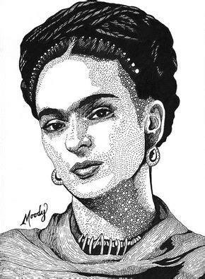 "Frida Kahlo - Micron pens on 5"" x 7"" Bristol - by Monica"