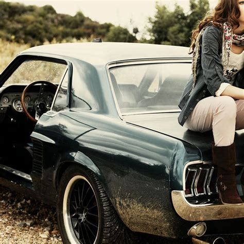 Girl Sitting On Ford Mustang 1967