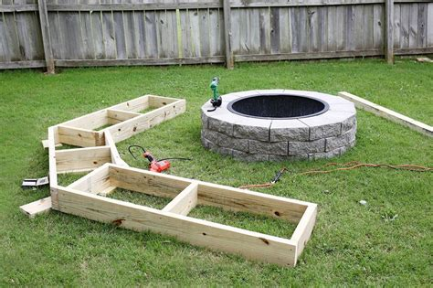this diy wooden bench takes the backyard pit to the