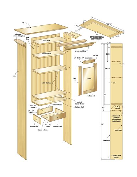 kitchen cabinet plans woodworking bathroom wall cabinet canadian home workshop 5662