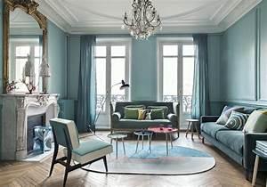 Rideau Bleu Pastel : bleu turquoise et pastel le duo gagnant de cet appart haussmannien elle d coration ~ Teatrodelosmanantiales.com Idées de Décoration
