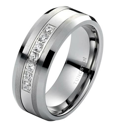 diamond wedding band ring men s tungsten band 8mm modern anniversary band 0 25ct ebay