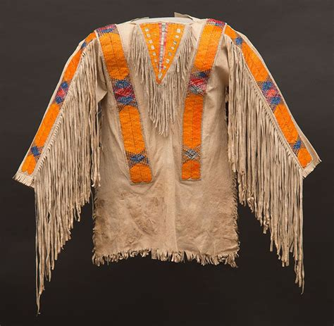 hidatsa tanned hide shirt with porcupine quill decoration ca 1890 paul dyck plains