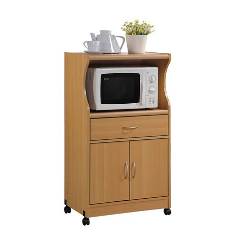 Home Depot Microwave Stand by Hodedah 1 Drawer Beech Microwave Cart Hik77 Beech The