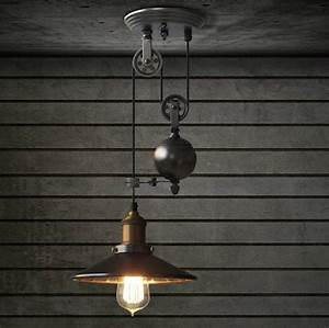 Lincoln pulley adjustable pendant ceiling light loft