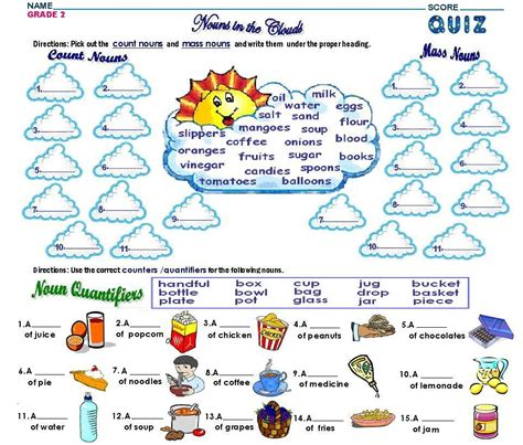grade2 count and mass nouns worksheet free math