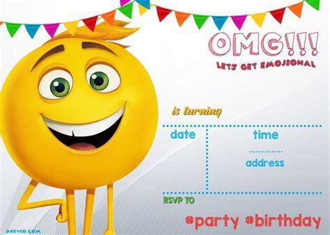 printable emoji invitation template  images