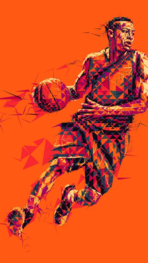 wallpaper basketball player  poly mosaic art