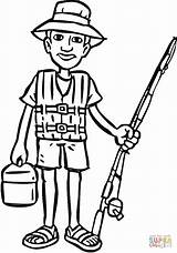 Fishing Coloring Going Pole Printable Template Clipart Sketch Drawing sketch template
