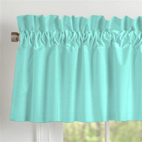 solid teal window valance rod pocket carousel designs