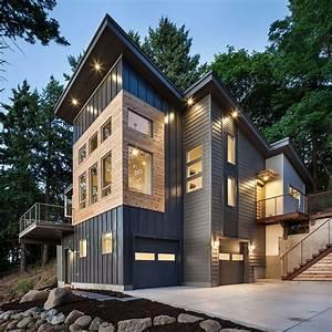 Metal building homes in exterior contemporary with bridge