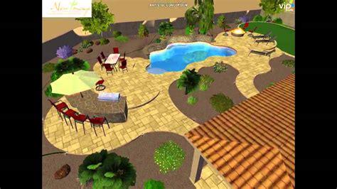 Pool-outdoor Kitchen-artificial Grass-travertine-3d