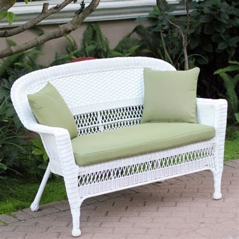 White Wicker Loveseat With Cushion and Pillows - Free