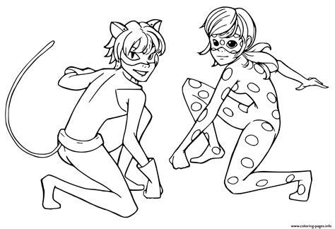 print miraculous tales  ladybug cat noir kids coloring