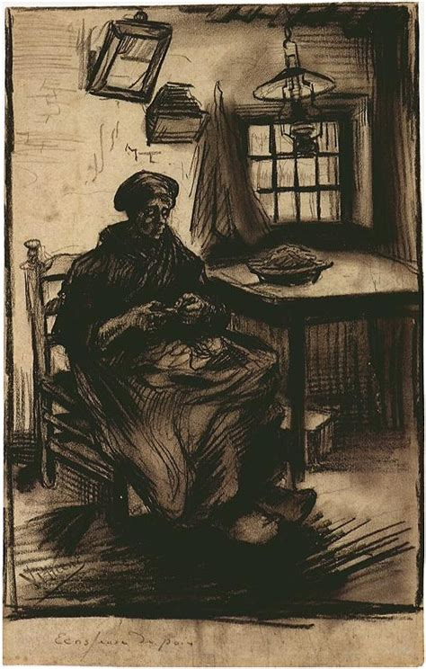 woman shelling peas  vincent van gogh  drawing