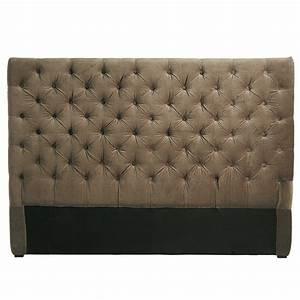Tête de lit capitonnée vintage en velours taupe L 160 cm Chesterfield Maisons du Monde