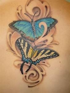 Tattoo Ideen Rücken : schmetterling paar blau tattoo ideen r cken schulter schl sselbein schmetterlingst towierungen ~ Watch28wear.com Haus und Dekorationen