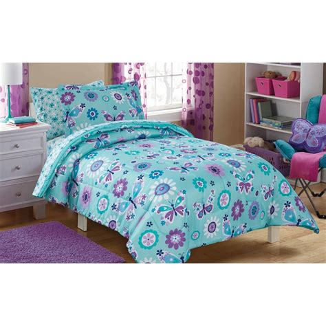 28053 mainstays bedding set mainstays butterfly floral bed in a bag bedding set