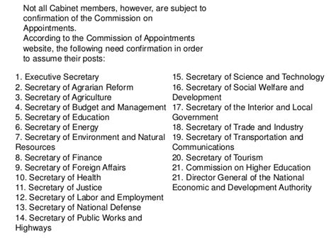 cabinet names and functions article 7 executive branch