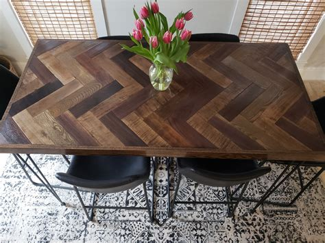 herringbone bar height dining table  hairpin legs