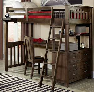Highlands Espresso Twin Loft Bed With Desk And Chair From