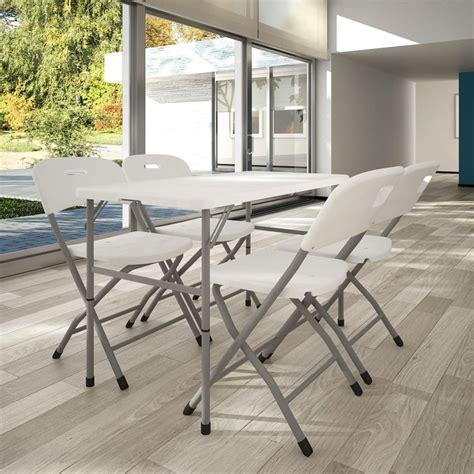 chaises pliables acheter vidaxl set de 4 chaises pliables et 1 table en