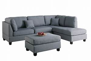modern contemporary polyfiber fabric sectional sofa and With modern sectional sofa and ottoman set