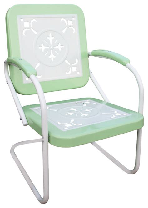 4d concepts metal chair retro in lime and white metal