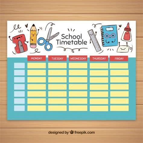Plantilla De Horario Escolar Con Elementos De Colegio