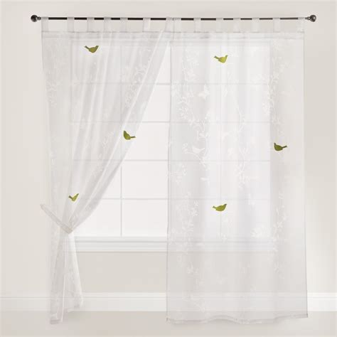 white bird botanical sheer burnout curtains set of 2
