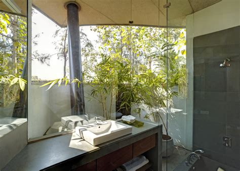 Plants For Bathroom India by Indoor Outdoor Home In India Sheltered By Concrete Leaves