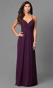 Eggplant Purple Long Prom Dress with V-Neck-PromGirl