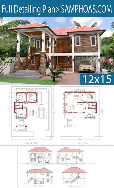 5 Bedrooms Home Design Plan 9x10m SamPhoas Plan Home