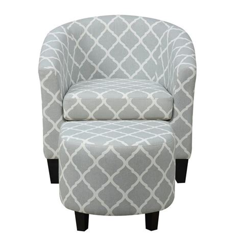 pemberly row fabric accent chair with ottoman in light