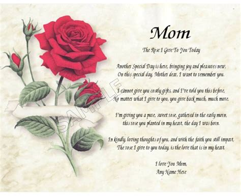 mom rose  give   personalized art poem memory