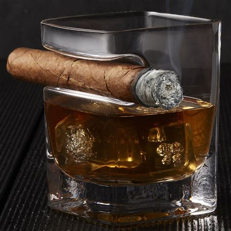 corkcicle cigar glass whiskey glass with cigar holder the green