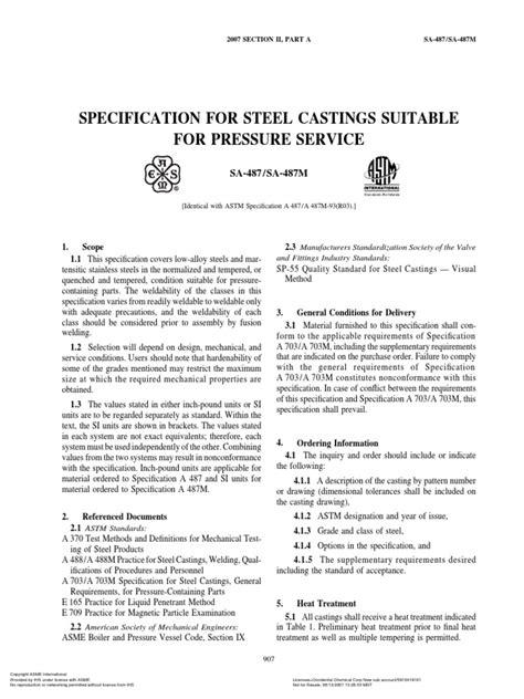 Asme Section II a-2 Sa-487 Sa-487m | Especificación (Norma