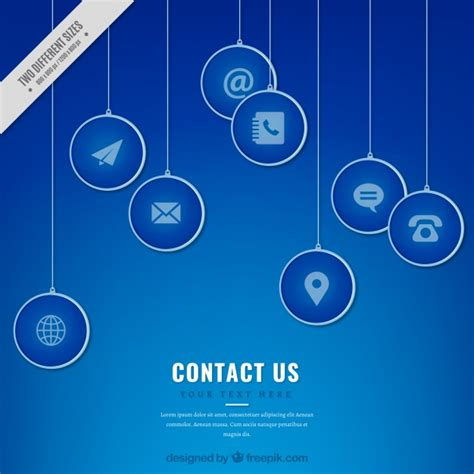 Blue Contact Icons Background Vector Free Download