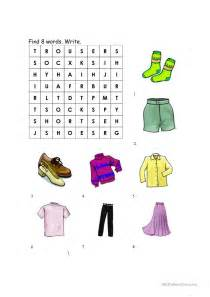 clothing worksheet match  wordsearch worksheet
