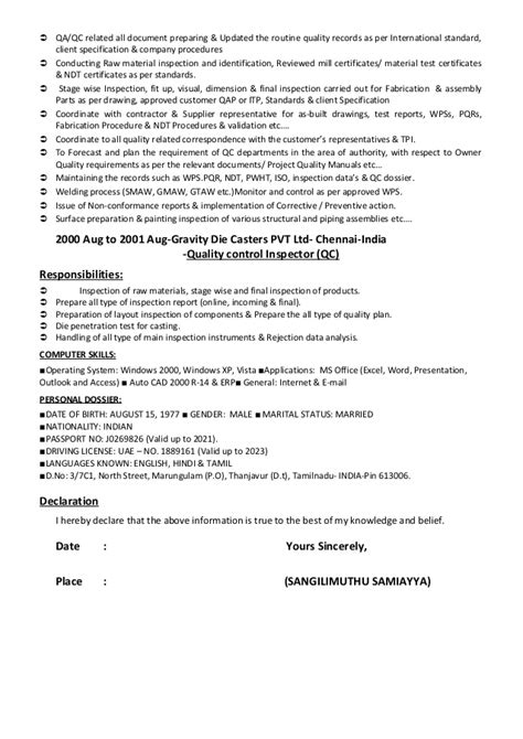 Cv of qaqc, inspection engineer, welding, painting